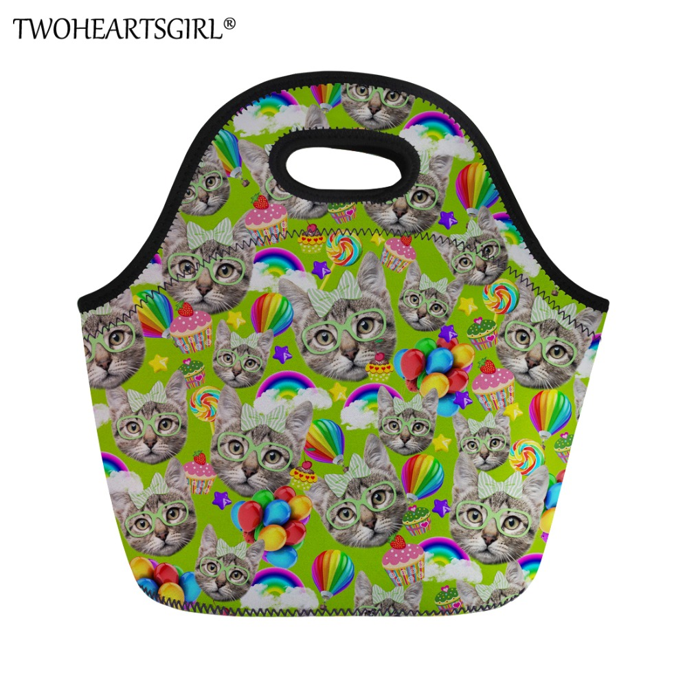 TWOHEARTSGIRL Kitty Cat Printing Thermal Portable Lunch Bag Women Casual Lunch Box Food Container Lunchbag Kid Carry Picnic Tote