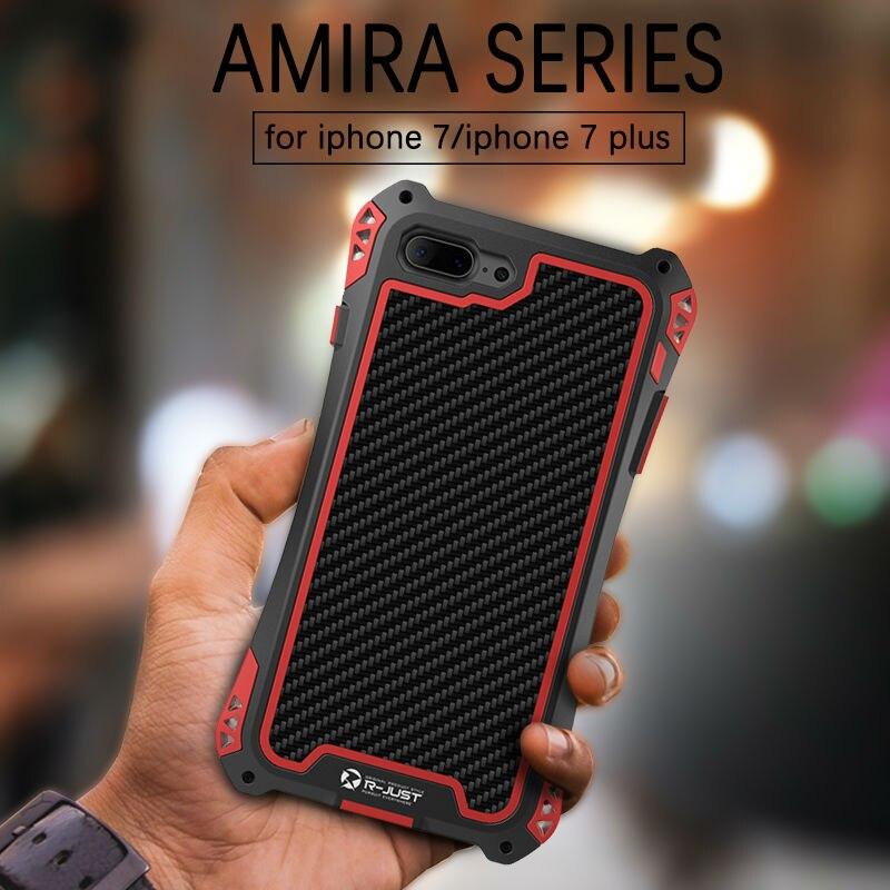 imágenes para R-sólo amira caja de metal a prueba de agua a prueba de golpes para iphone 7/7 plus aluminio armadura de fibra de carbono del gorila de vidrio templado cubierta