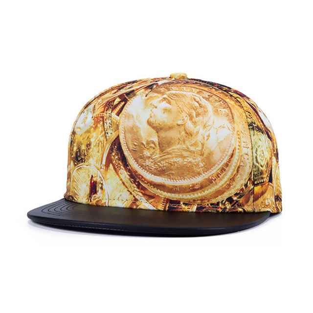 Creative caps snap back gold coin Bboy rap hiphop street dancer hats for men women WK049