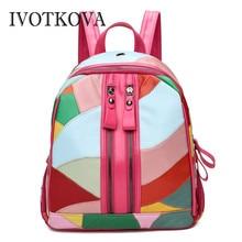 IVOTKOVA Genuine Leather Women Backpack Fashion Sheepskin Shoulder Bags 2019 Patchwork Mochila Lady Rucksack School Bag