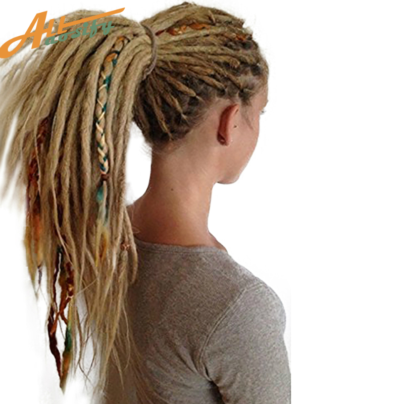 Allaosify24 inch 1-10Pcs/Lot Synthetic Handmade Dreadlocks Hair Extension Braiding Hair Kanekalon Reggae Hair Soft Crochet Braid ...