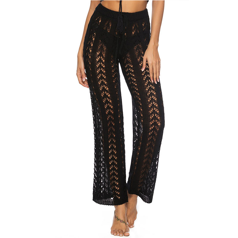 New Swimsuit Cover Up Beach Pants Women  Sexy Hollow Loose Mesh Swimwear Wide Leg Knitting Wear Trousers