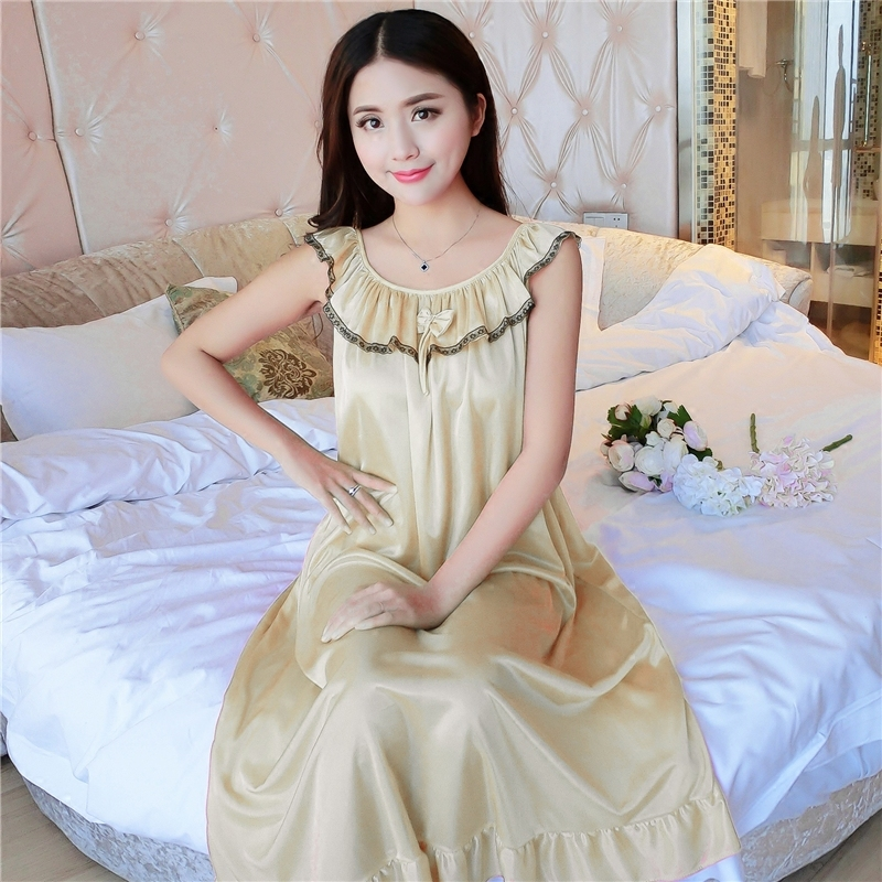 Hot Women Night Gowns Sleepwear Nightwear Long Sleeping Dress Luxury Nightgown Women Casual Night Dress Ladies Home Dressing Z79 4