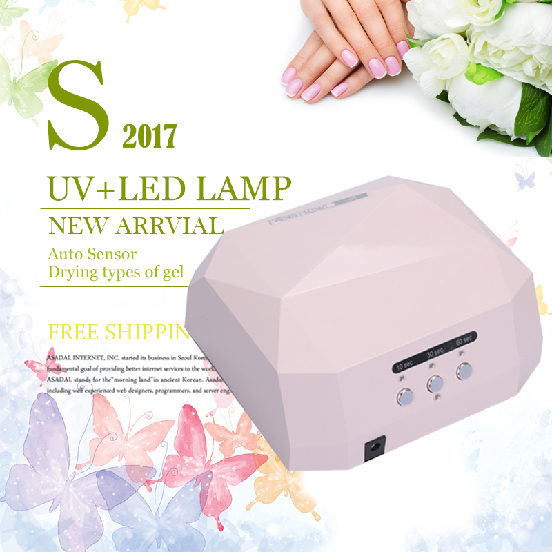 Nail Dryer UV LED Sensor 36W Diamond Shaped Nail Lamp LED UV Fast Dryer Curing For UV Gel Nails Polish Nail Art Tools cnhids set 36w uv lamp 7 of resurrection nail tools and portable package five 10 ml soaked uv glue gel nail polish