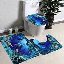 Buy 3pcs/set Bathroom Non-Slip Blue Ocean Style Pede online