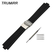 24mm x 11mm Silicone Rubber Watchband for Oris Aquis Watch Band Convex Strap Stainless Steel Safety Buckle Wrist Bracelet Black