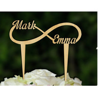 Personalized Custom Name Wedding Anniversary Cake Topper Rustic Wooden Cake Topper Bridal Shower Party Table Cake