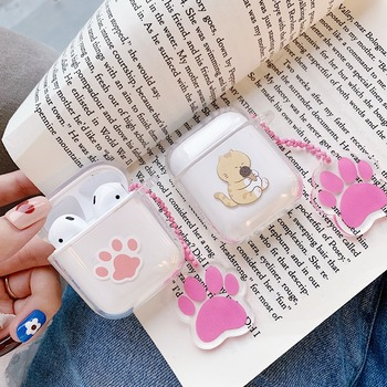 Cute Cartoon Paws Cat Clear Soft TPU Case for Apple Airpods 1 2 Headphone Cover Bluetooth Wireless Earphone Box Bags Key Chain