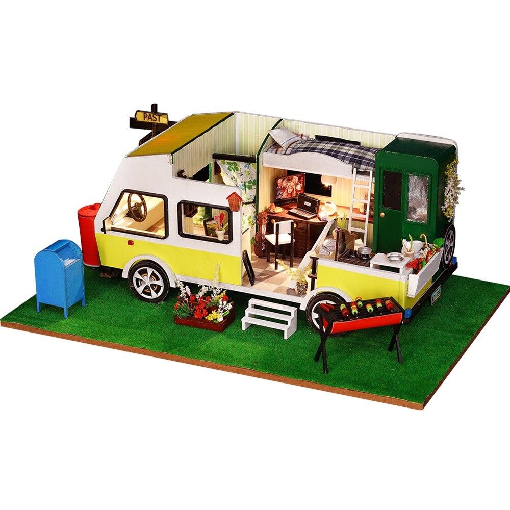 手作り Miniatura Diy ドールハウスの家具組み立てるミニチュアドールハウスモデルキットパズルのおもちゃ子供少女ギフト  グループ上の おもちゃ & ホビー からの ドールハウス の中 1