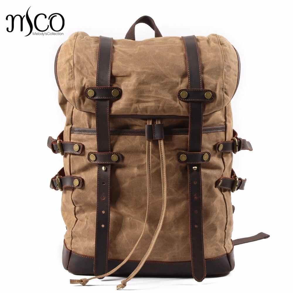MCO 2019 Laptop Backpack Vintage Large Capacity Oil Wax Waterproof Backpacks Teenager Canvas Leather Drawstring Bags