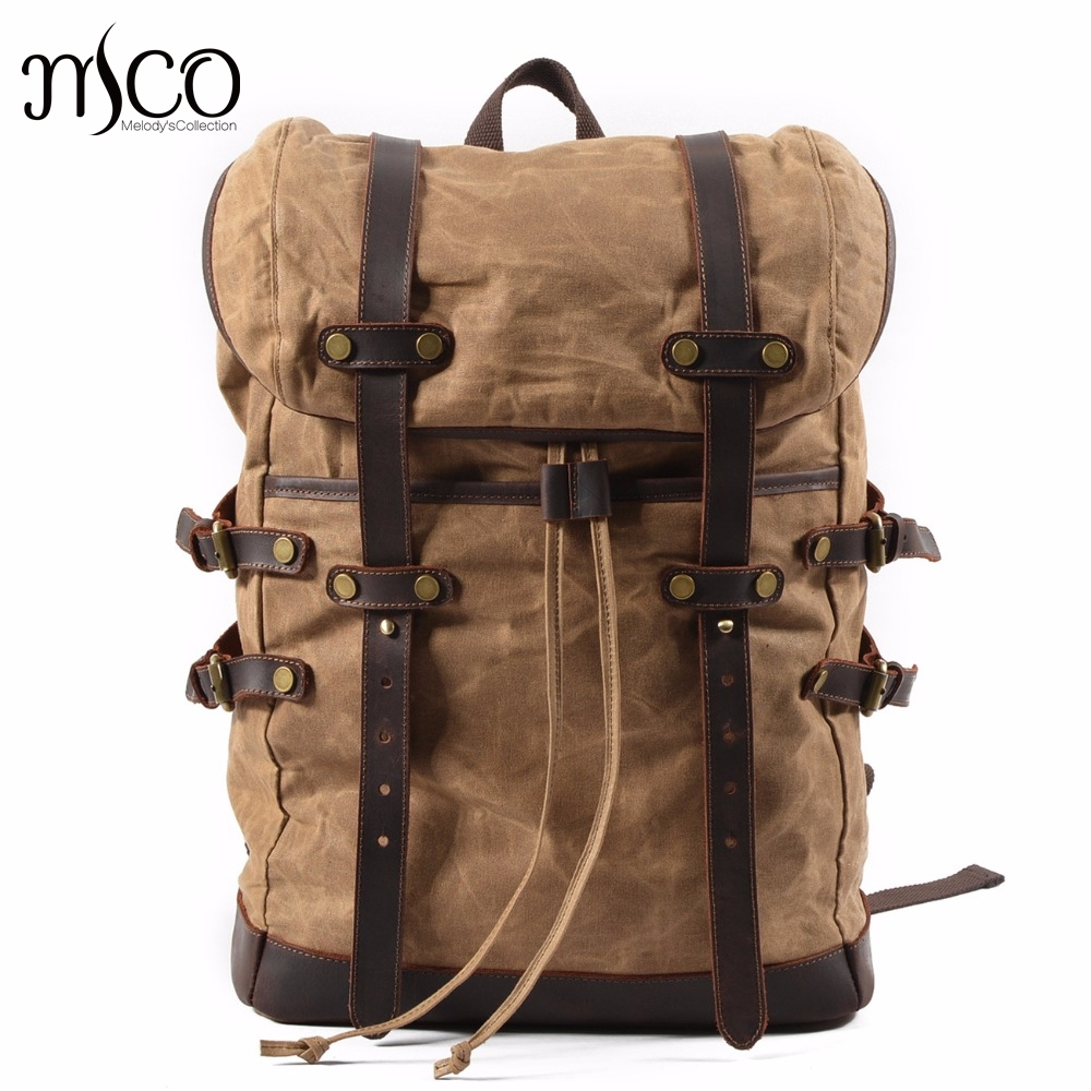 Bagaj ve Çantalar'ten Sırt Çantaları'de MCO 2019 Laptop Sırt Çantası Bağbozumu Büyük Kapasiteli Yağ Balmumu Su Geçirmez Sırt Çantaları Genç Tuval Deri İpli Çanta Sırt Çantaları'da  Grup 1