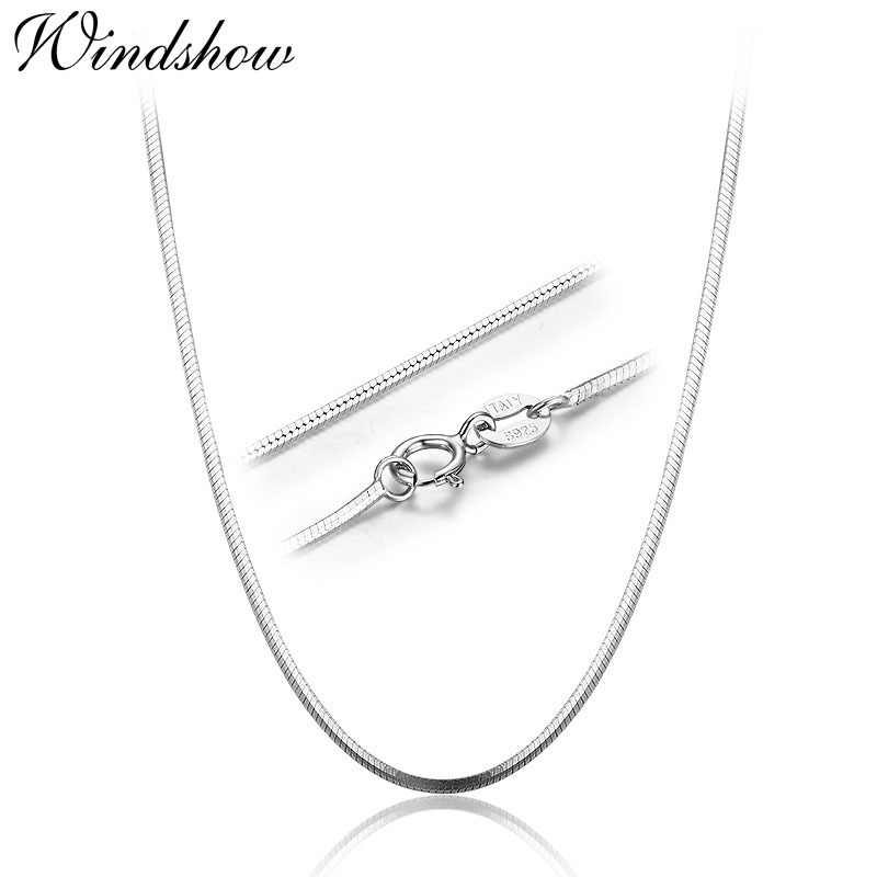"14""-32"" 35-80cm 1mm 925 Sterling Silver Necklaces Italy Slim Thin Snake Chains Necklace Women Chain Kids Girl Men Jewelry Colier"
