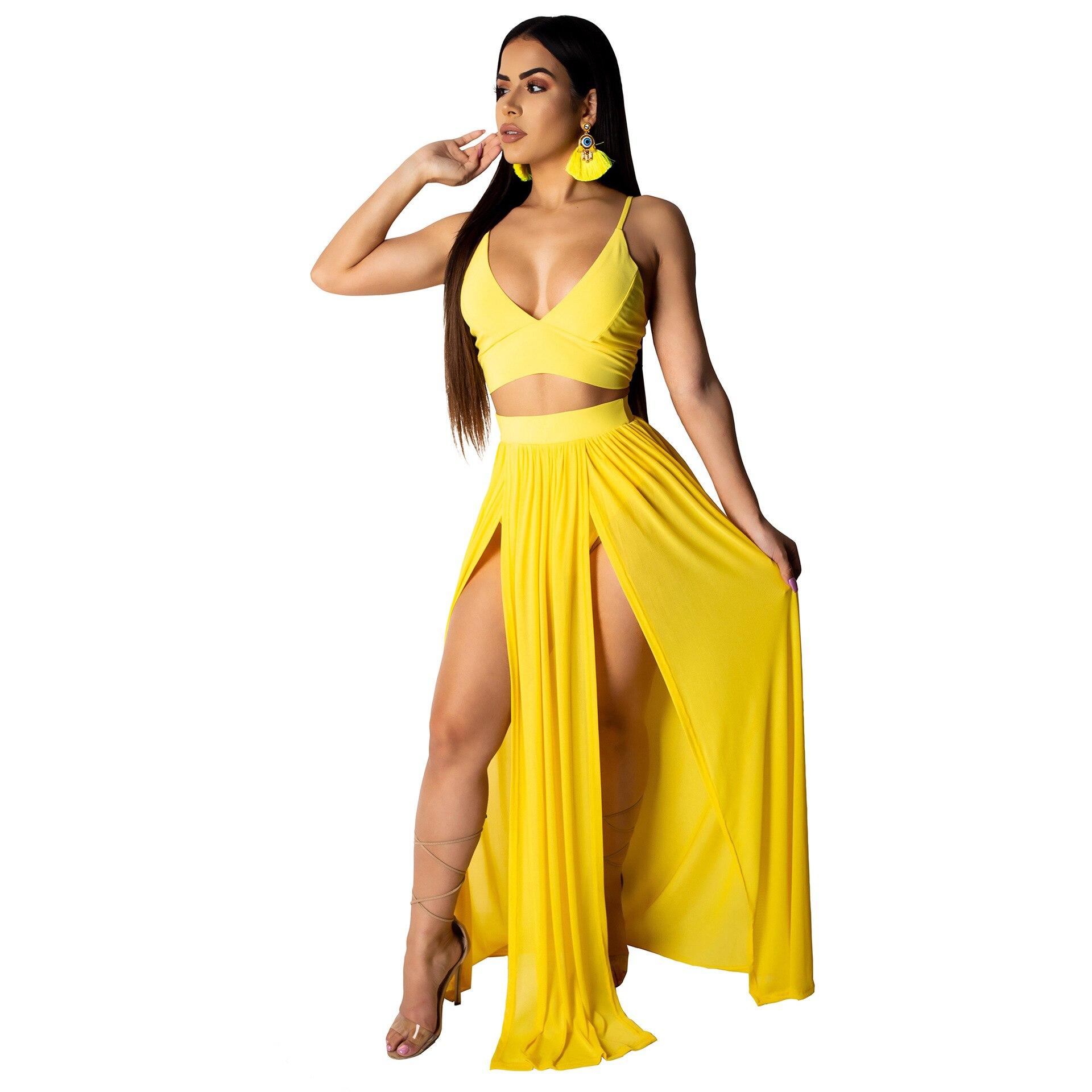 Women Summer Deep V Party Long Skirt Crop Top Two Piece Set