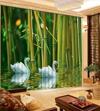 customize 3d curtains water swan bamboo soundproof curtains photo 3d blackout curtains for the bedroom