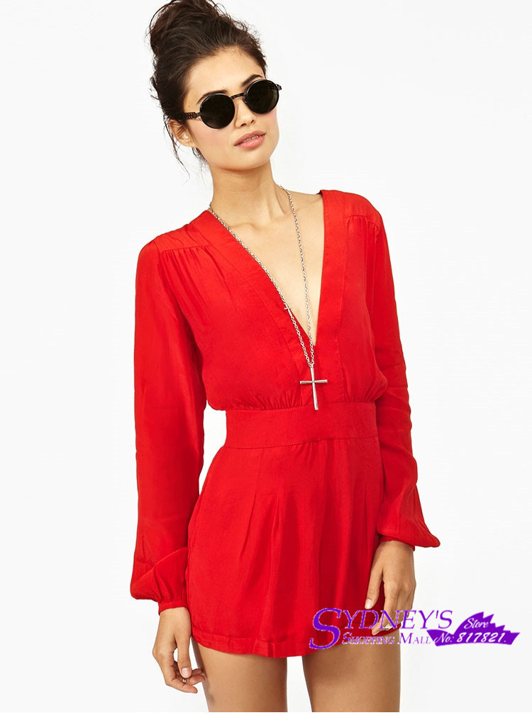 Lady's Hot Red Sexy V neck Long sleeve Tops With High Waist Short ...
