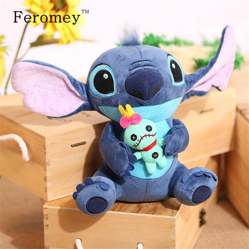 цены Kawaii Stitch Plush Doll Toys Anime Lilo and Stitch 25cm Stich Plush Toys for Children Kids Birthday Gift