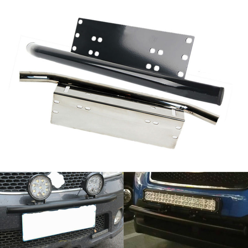 Mounting Brackets Bull Bar Bumper Front License Plate Mount Holder Bracket Black Off Road Offroad Work