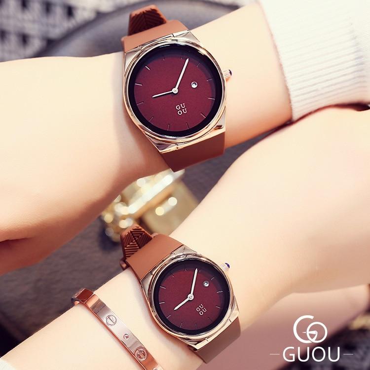 Luxury GUOU Simple Style Men Women Lovers' 30m Waterproof Calendar Dress Watch Fashion Casual Watches Wristwatch Dropshipping