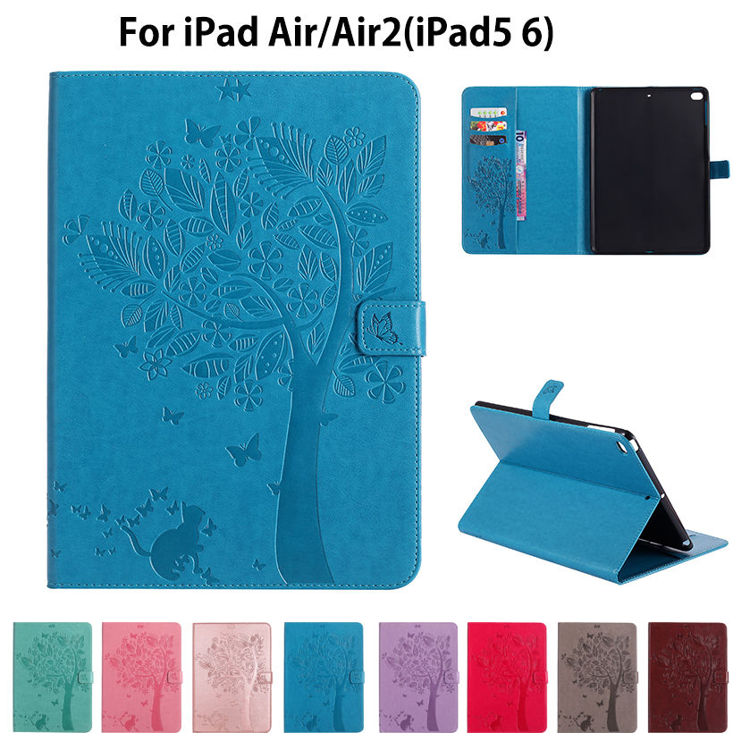 For Apple iPad air air2 Cases High quality PU Leather Flip Stand Cat Tree Pattern Case For iPad 5 iPad 6 Cover Funda Skin Shell kinston kst91869 butterfly w rhinestones pattern pu case w stand for iphone 6 white blue