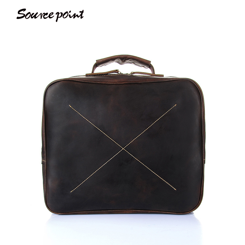 SOURCE POINT New Crazy Horse Genuine Leather Men Vintage Shoulder Bag Male briefcase Top-handle Bag Business Laptop Bags YD-8018 mva business men s leather briefcase handbag totes vintage laptop bag crazy horse genuine leather men bag male shoulder bags