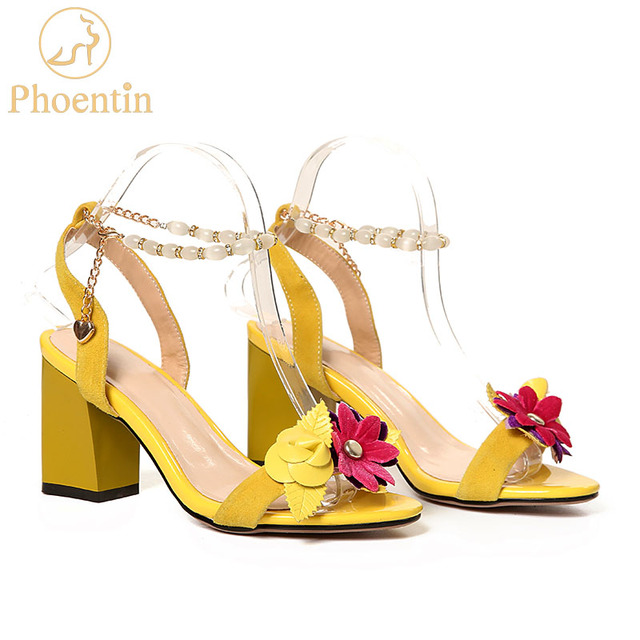 Phoentin yellow flower sandals summer 2018 ankle strap buckle women sandals fashion with spare chain kid suede lady shoes FT391