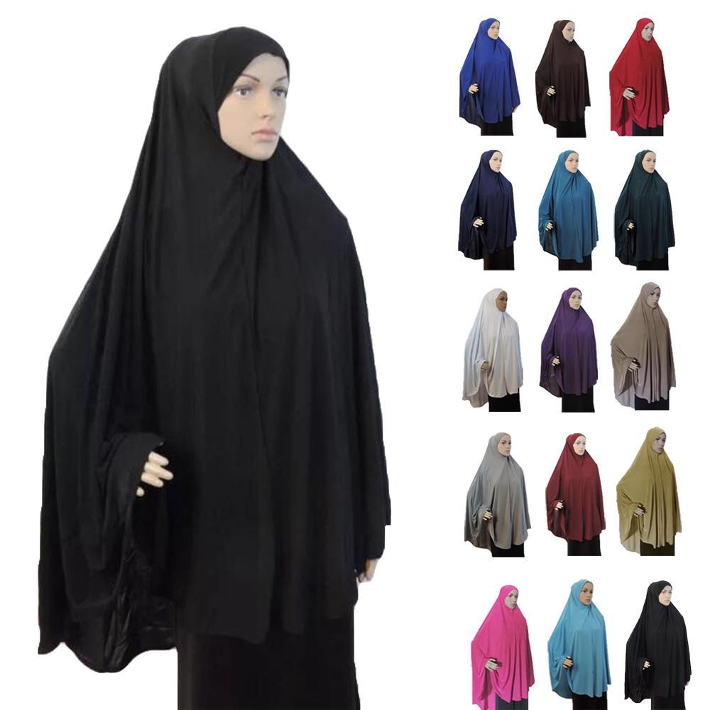 Full Cover Muslim Women Prayer Dress Niquab Long Scarf Khimar Hijab Islam Large Overhead Clothes Jilbab Ramadan Arab Middle East