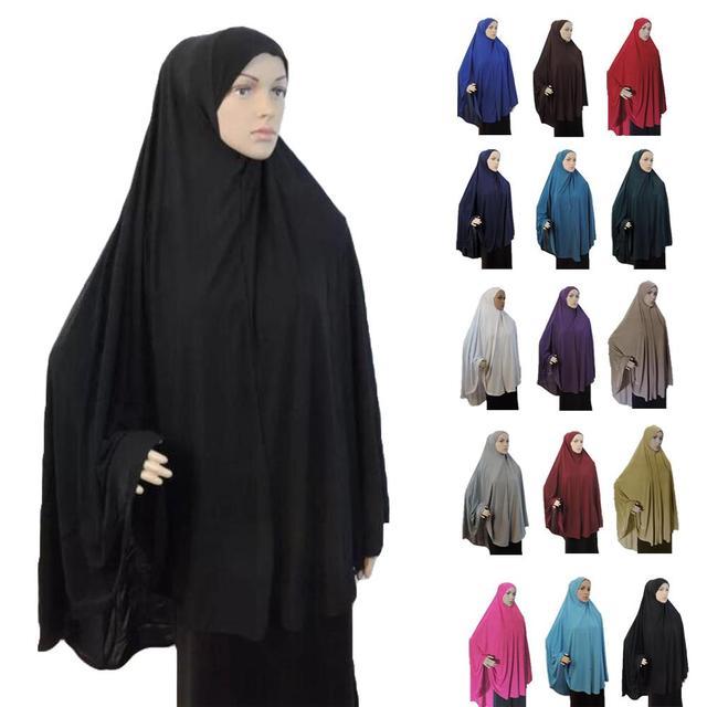 Khimar Hijab Phụ Nữ Hồi Giáo Dài Khăn Trên Cao Hijabs Cầu Nguyện Hồi Giáo Quần Áo Ả Rập Niqab Burqa Ramadan Bao Phủ Ngực Khăn Choàng Len Nắp