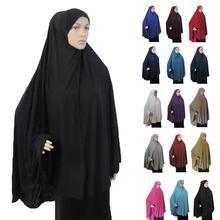 מלא כיסוי מוסלמי נשים תפילת שמלת Niquab ארוך צעיף Khimar חיג אב האיסלאם גדול תקורה בגדי Jilbab הרמדאן התיכון הערבי מזרח