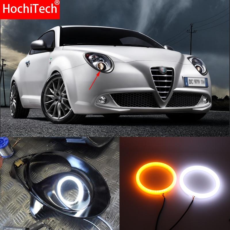 For Alfa Romeo Mito 2008 2015 White Amber Dual color Cotton LED Angel eyes kit halo