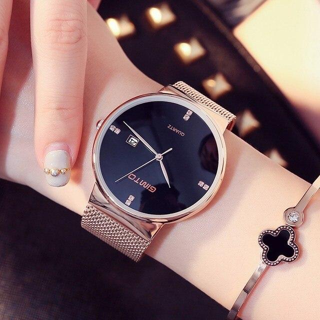 f106261bbce 2017 GIMTO Pulseira Quartzo Mulheres Relógios Ouro Marca de Negócios de Moda  de Luxo Senhoras Relógio