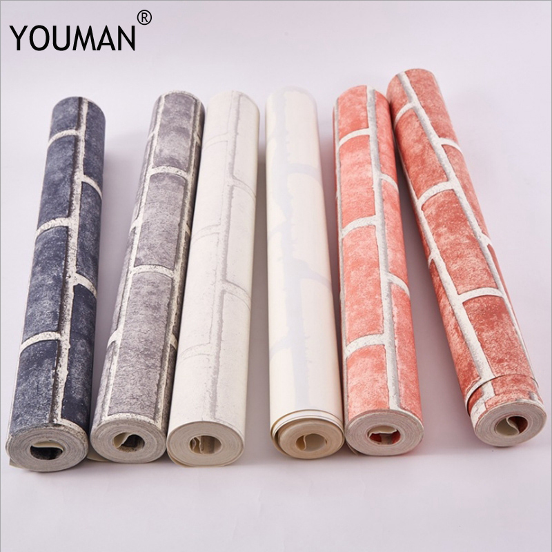 Modern Vintage Brick Textured Wallpaper For Walls Decor Embossed 3D Wall paper Rolls For Bedroom Living room Sofa TV Background