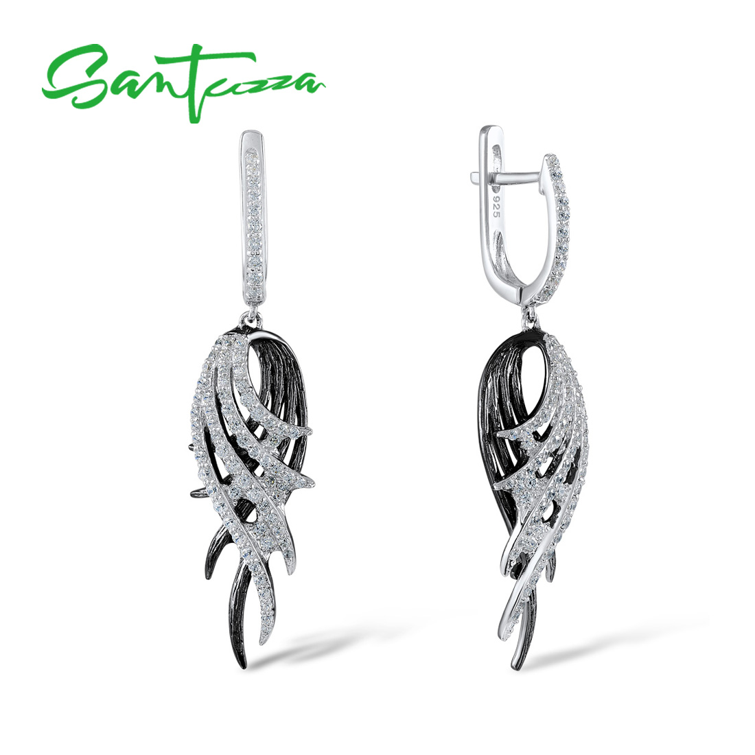 SANTUZZA Silver Feather Drop Earrings For Women  925 Sterling Silver Earrings Black White Feather серьги Fashion Jewelry