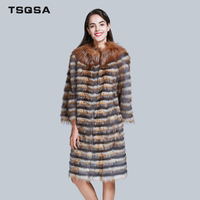 TSQSA Lady Clothes Real Fox Fur Coat Women Natural Fox Outerwear Clothing Silver Fox Fur Fashion Warm Female OverCoat TAC1735