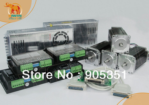 Promotion of Wantai !!! Ship from USA High Quality ,4Axis Nema 23 Stepper Motor 428oz-in ,dual  shaft ,CNC Mill Control ship from de 4 axis nema34 stepper motor dual shaft 1600oz in driver 7 8a 80v 256micro power cnc big discount