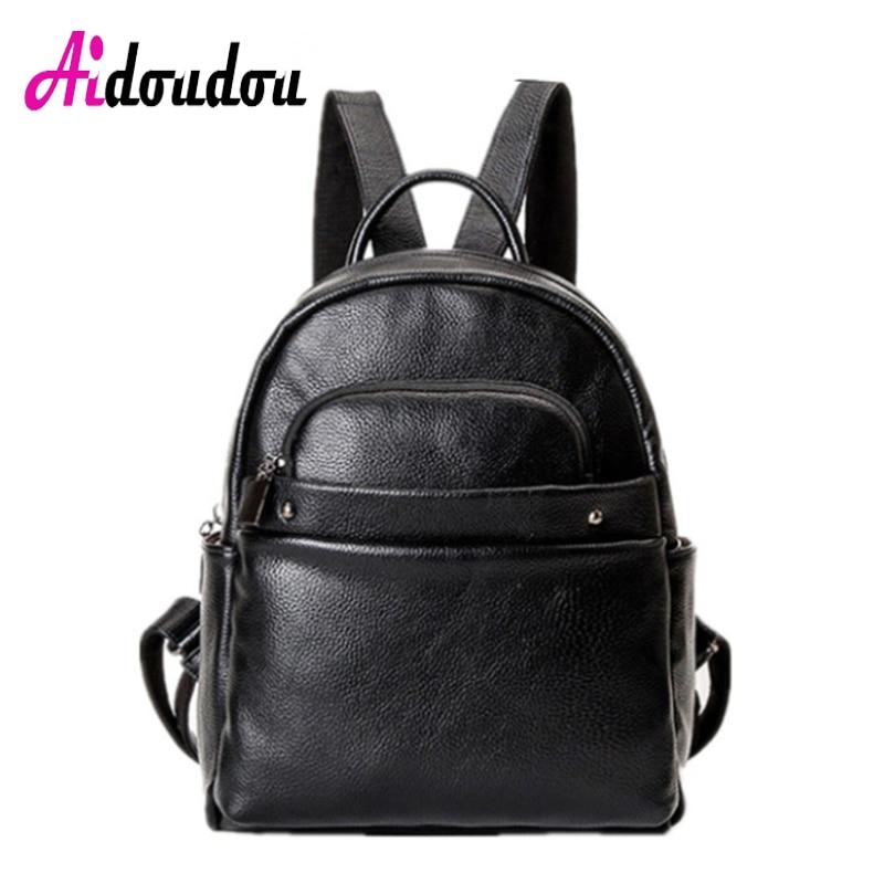 AIDOUDOU BRAND Mochila Escolar Phone European And American Style Pu Leather Backpack School Bags Women S