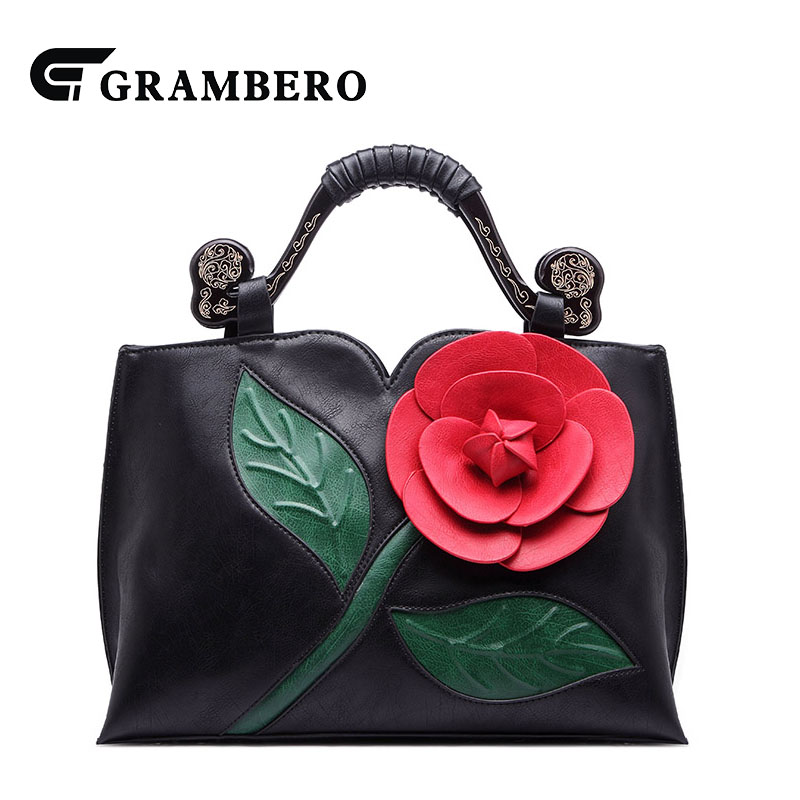 Classical Vintage Women Handbag Soft PU Leather 3D Flower Zipper Fashion Shoulder Crossbody Bag Lady Evening Bags Top-handle Bag