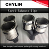 Car Styling 1Pair Carbon Fiber Coated Stainless Steel Universal Car Exhaust Pipe Tip Tailtip 89mm 63mm