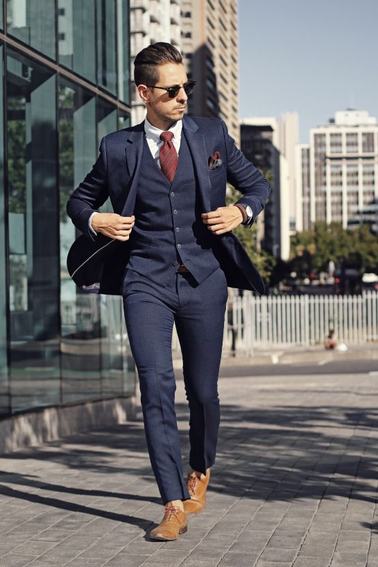 Navy Suit Wedding.Us 64 99 30 Off Fashionable Navy Business Mens Suits 3 Pieces Wedding Tuxedos Groomsmen Best Man Jacket Pants Vest Formal Suit For Men In Suits