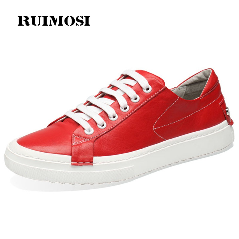 RUIMOSI New Arrival Round Toe Man Casual Flat Platform Shoes Male Genuine Leather Comfortable Men's Handmade Basic Footwear HJ21