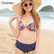 Charmo Bikini Women Swimsuit Sexy Swimwear Floral Dot Print Bathingsuit Backcross Push Up Bandage Summer Beachwear Hot Sale