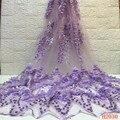 Кружевная ткань с бусинами 2019 Высокое качество Африканский французский фиолетовый 3D кружевной ткани с бисером для нигерийских свадебное п...