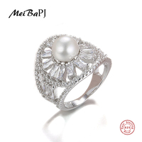 MeiBaPJ Luxurious 925 Silver Ring With 100 Genuine Freshwater Pearl Ring For Women Grade AAAA 10