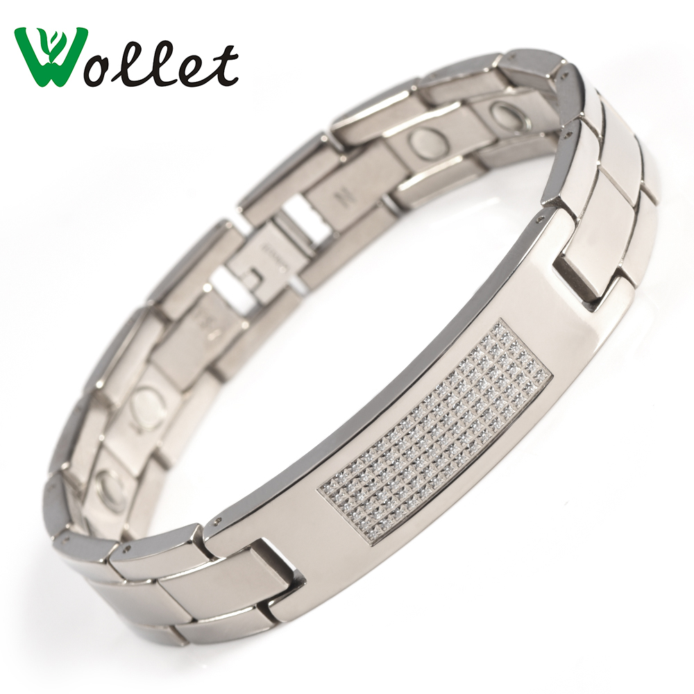 Wollet Jewelry Titanium Magnetic Bracelet for Men CZ Stone Health Energy Solid Germanium Infrared Magnets byriver healthcare black tourmaline stone health bracelet germanium negative ion energy hand chain for men women size 57 64mm
