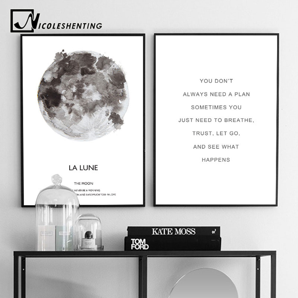 The Moon Wall Art Black White Poster Nordic Style La Lune Picture Canvas Print