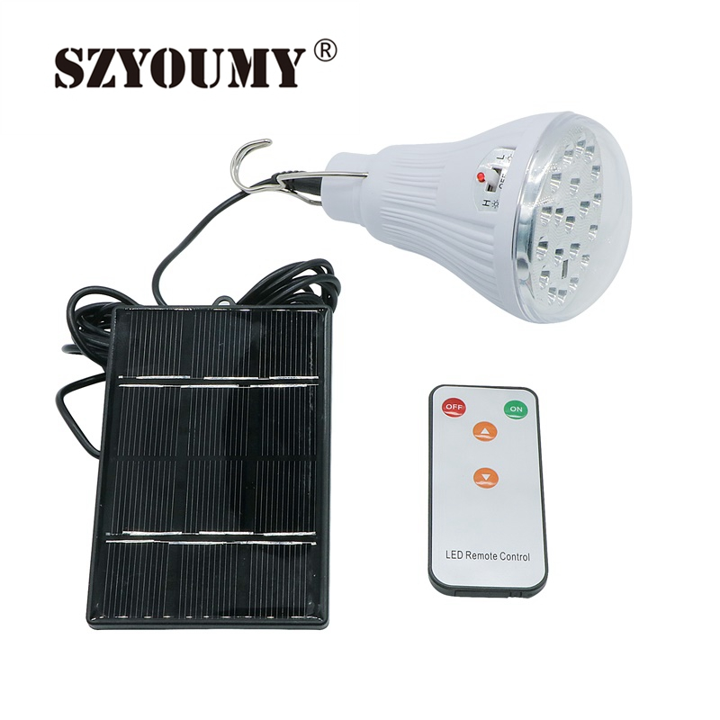 Solar LED Light Bulb Camping Bulb Portable Remote Control Brightness Emergency Rechargeable For Hiking Fishing Outdoors