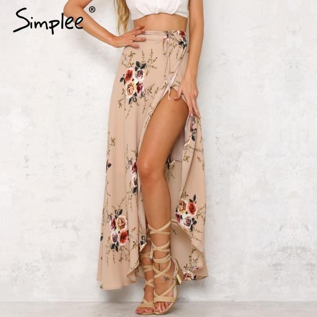 Simplee vintage çiçek baskı uzun etekler kadın yaz zarif plaj maxi etek boho yüksek bel asimetrik etek
