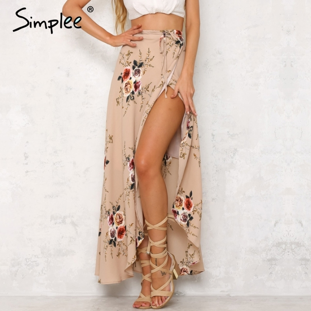 Simplee vintage floral imprimir saias longas mulheres verão elegante boho praia maxi saia saia de cintura alta assimétrico