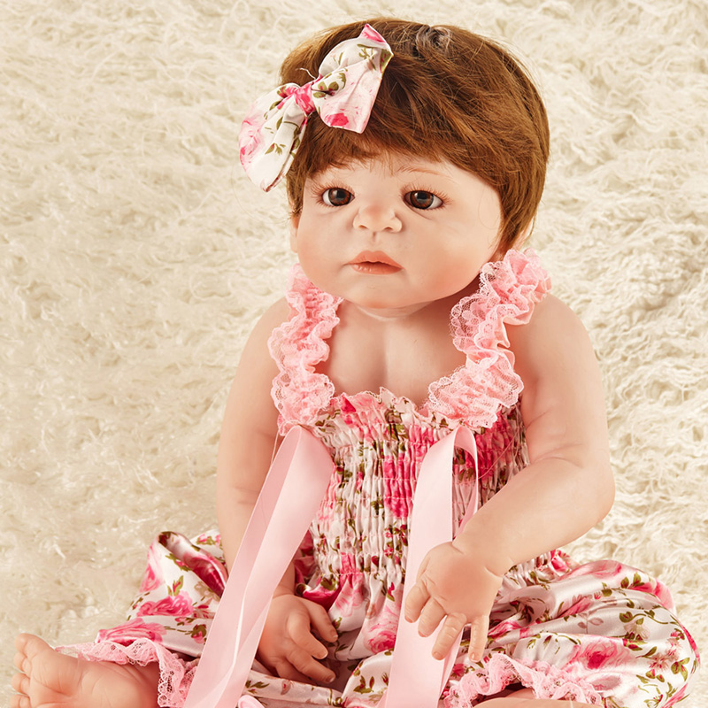 Reborn Silicone Dolls Long Hair Baby Born Doll Accessories