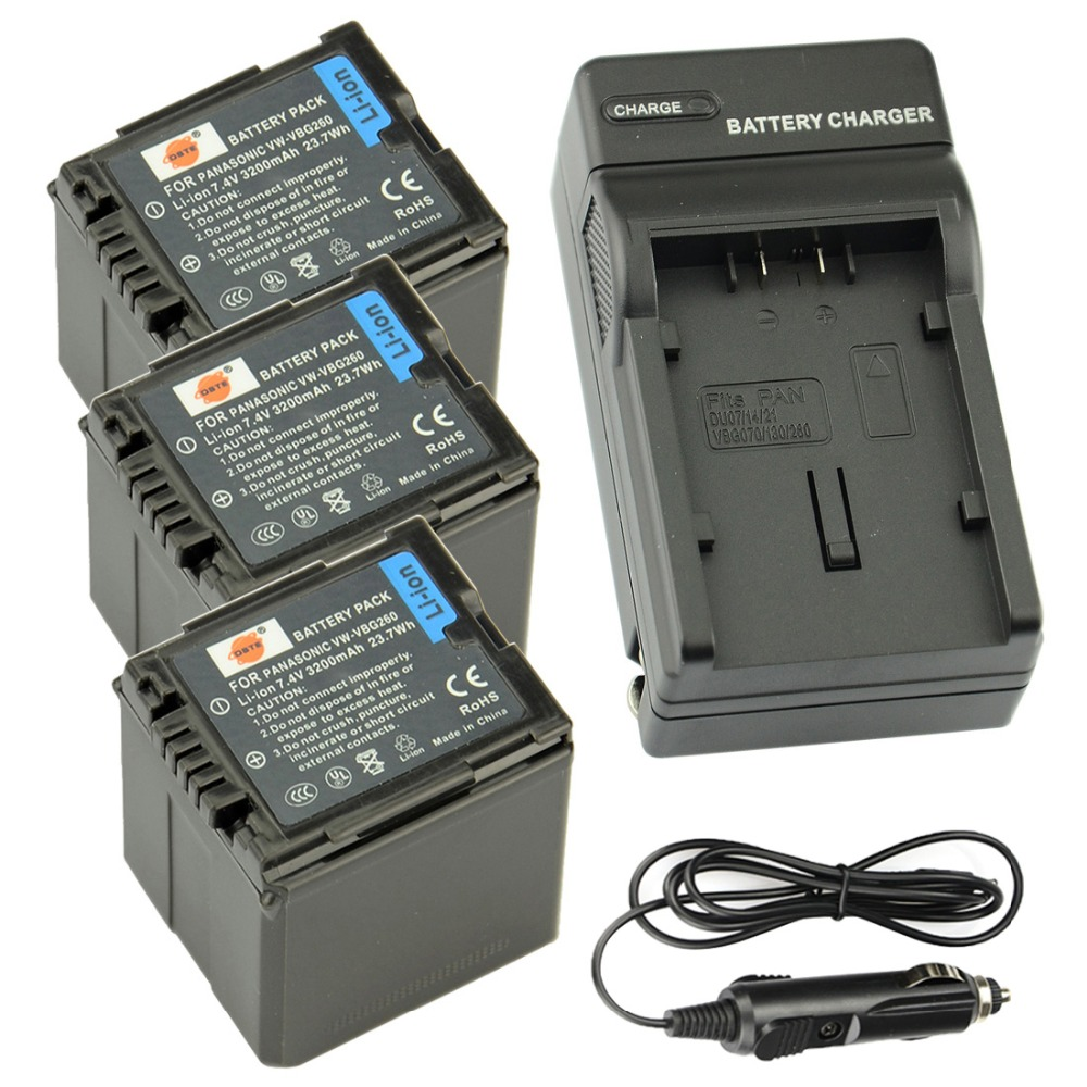 DSTE 3pcs VW-VBN260 Camera Battery + Travel and Car Charger for Panasonic TM900 SD800 HS900 SD900
