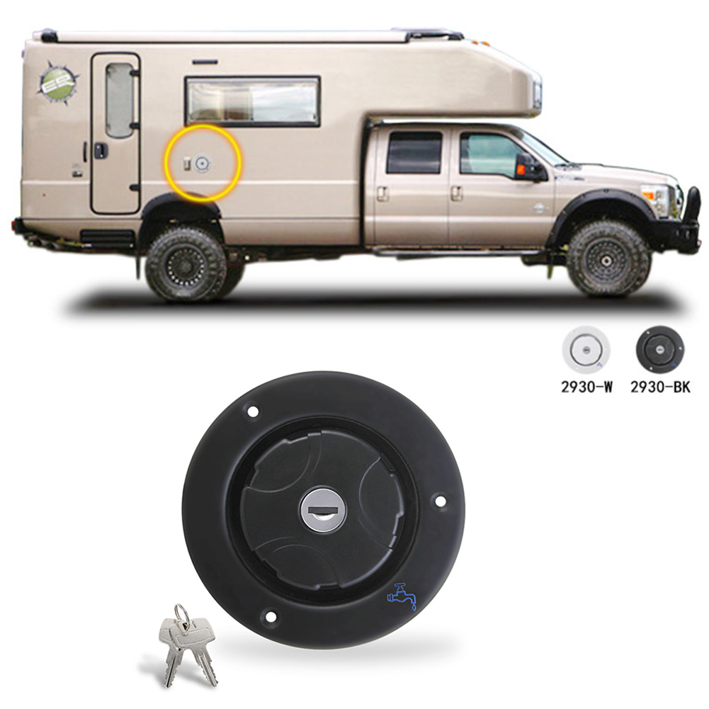 RV parts Filler Neck For Water Tanks Caravan Plastic Gravity Fresh Water Fill Hatch Inlet Camper Trailer Keys Motorhomes Black(China)